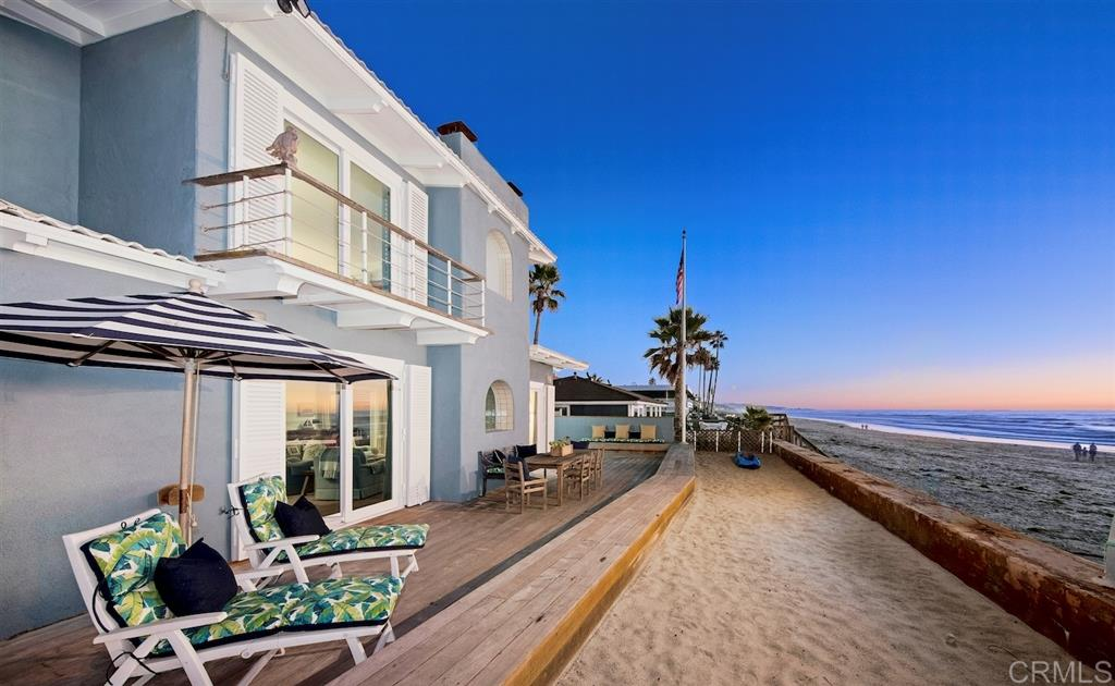 Showcasing 50ft of ocean frontage w/direct beach access on Del Mar's most coveted stretch of sand, this idyllic beach haven, on an oversized ½ acre lot, presents 5 bedroom suites, including an oceanfront Master w/view deck, and room to expand. Fresh ocean breezes, picturesque sunsets & the sounds of the ocean are your constant companion. Southern exposure and the indoor/outdoor living spaces create the ideal home for enjoyable family living & entertaining.Located in the Sandy Lane private gated community.Additional property highlights include: 3-car garage plus private (on-site) parking for 15 additional cars * Beach bathroom and outdoor shower * Protective seawall * Direct beach access - you are steps away from a ~3 mile sandy beach walk from Dog Beach to Torrey Pines State Beach (at low tide) * Walk to world class dining * Take in Del Mar Racetrack * Oversized parcel offers opportunity for creative expansion: ADU, extra garage(s), pool, additional living space, or whatever your dream life entails * Tucked away at Sandy Lane, life becomes your own private haven.