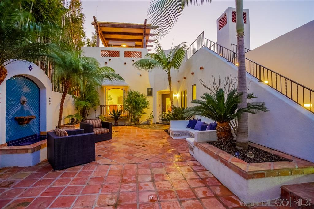 Exquisite Spanish retreat in La Jolla's most sought after Beach Barber neighborhood 500 feet to the beach. Privacy & tranquility is in abundance to enjoy the California weather w/ an interior courtyard, vintage fountain, Saltillo tiles, private dining & meditation lounge. Large master & guest suite w/ formal dining, living & family room. The warm tropical landscape paired w/ an expansive ocean view rooftop deck w/ covered pergola seating, to a sun bathing platform. Casa Monte Vista is a dream come true.La Jolla is a smart seaside area, known for its rugged coastline. Trails wind past pine trees and sandstone canyons in Torrey Pines State Natural Reserve, while the 2 courses at world-renowned Torrey Pines Golf Course sit atop sea cliffs. La Jolla Cove has sweeping ocean views with lots of sea life including seals, and the Shell Beach tide pools are home to anemones and crabs. Posh boutiques and waterfront restaurants are plentiful in the walkable village.   Population: 46,781 \  Sunny Weather average 70 degrees year round.
