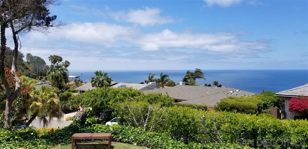 PANO-OCEAN NORTH SHORE AND SUNSET VIEWS; REMODELLED CALIFORNIA RANCH CONVENIENTLY LOCATED NORTH SIDE OF MOUNT SOLEDAD. LARGE GOURMET KITCHEN; PASTORAL, PRIVATE FRONT AND BACK YARDS; SOLAR PANELS SUBSIDIZE ELECTRIC.