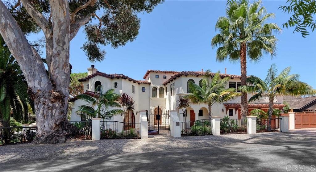 Exquisitely designed 5 bedroom Spanish Colonial in the heart of Bird Rock. Quality craftsmanship on a corner lot offers elegant frontage and privacy. A thoughtfully appointed kitchen with high-end appliances opens to family room and breakfast area, fireplaces in living and dining rooms. Gracious outdoor living includes 2 large ocean view decks, entry courtyard with fountain, covered patios, stone terraces, BBQ center, and plenty of grass. Prime location near ocean, shops/restaurants, and top-rated school.Top quality is evident in this family-friendly 2006-built home. Hardwood floors, beautiful hand painted tiles, perfectly placed picture windows, rich wood accents, and arched doorways throughout ** High-tech nerve center providing support for all the conveniences of modern living (including sound system; CAT 5; HD; wireless thermostat controls, alarm system), and high-end finishes and appliances ** The kitchen is well equipped with generous counter space, a beverage bar with wine fridge and built-in Miele espresso maker, plus double oven, warming drawer, and one and a half dishwashers by makers including Subzero, Dacor, Miele, and Fisher Paykel. ** All 5 bedrooms found upstairs surrounding central loft/bonus room - the perfect secondary family room or playroom. ** Master bedroom with dual closets and picture windows that frame breathtaking views of sculptural trees and the Pacific Ocean. Master bathroom with large steam shower, soak tub, and elegant finishes. ** Backyard BBQ center with sink and refrigerator. ** Other thoughtful additions that support an active California lifestyle include over 1,000 square feet of outdoor deck/covered patio space, an outdoor shower, mud room with built-in cubbies, and boat pad which can share space with bikes and boards.
