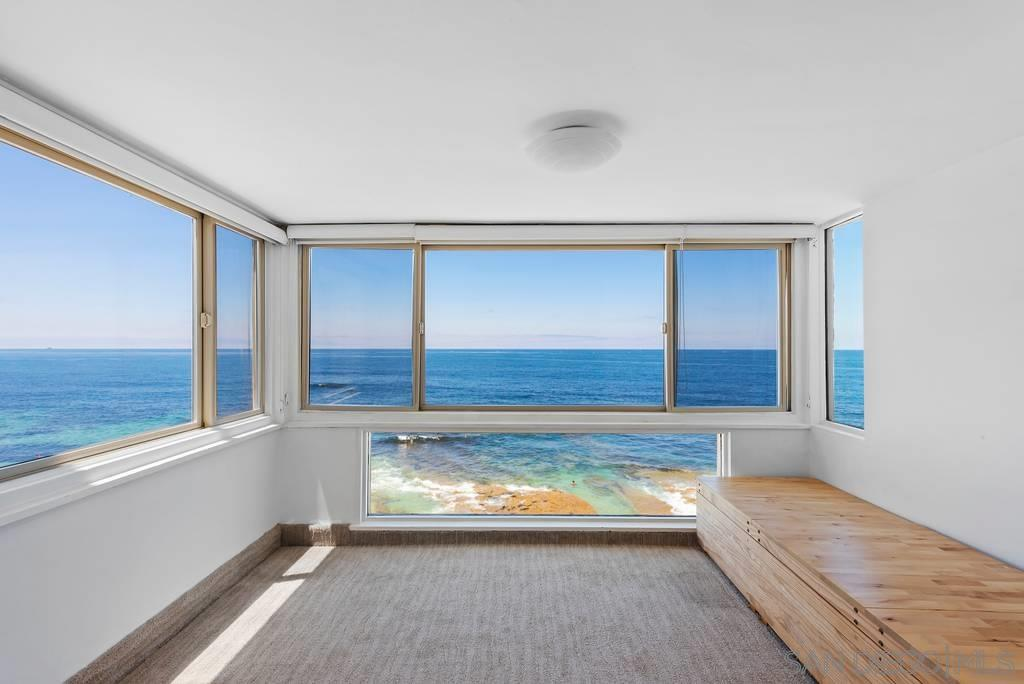 Rare Offering!. LaJolla's Jewel Oceanfront.Windows to the sparkling sea. Corner unit with stunning floor to ceiling white water views of the blue Pacific,tide pools, Sunsets & Sea Life.Enclosed patio overlooking the Ocean.Private beach access from complex.Enjoy relaxing on the community beachfront patios and barbeque in a private setting. HOA fee includes,gas and electric heating ,A/C,cable tv & internet!Near La Jolla Village. Dont miss this true la jolla gem!Below appraised value!
