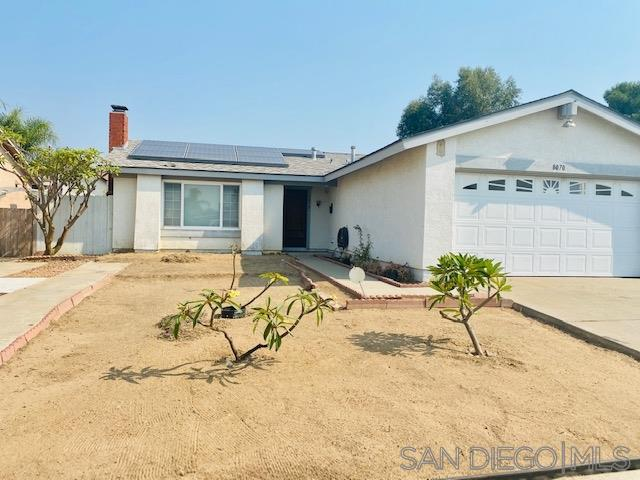 Welcome to this spacious family home on a quiet street and great Mira Mesa neighborhood. Enter the home to a cozy living room with a brick fireplace, and open layout in the kitchen and large family room. Newer vinyl flooring throughout the whole house. Other features include A/C, newer appliances, dual paned windows, solar roof panels, attached 2 car garage, laundry room, storage shed, and a large covered patio perfect for entertaining. Convenient location close to great schools and shopping.