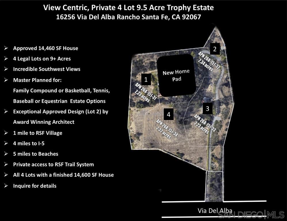 16256 Via Del Alba 4 LEGAL PARCELS, Rancho Santa Fe, CA 92067
