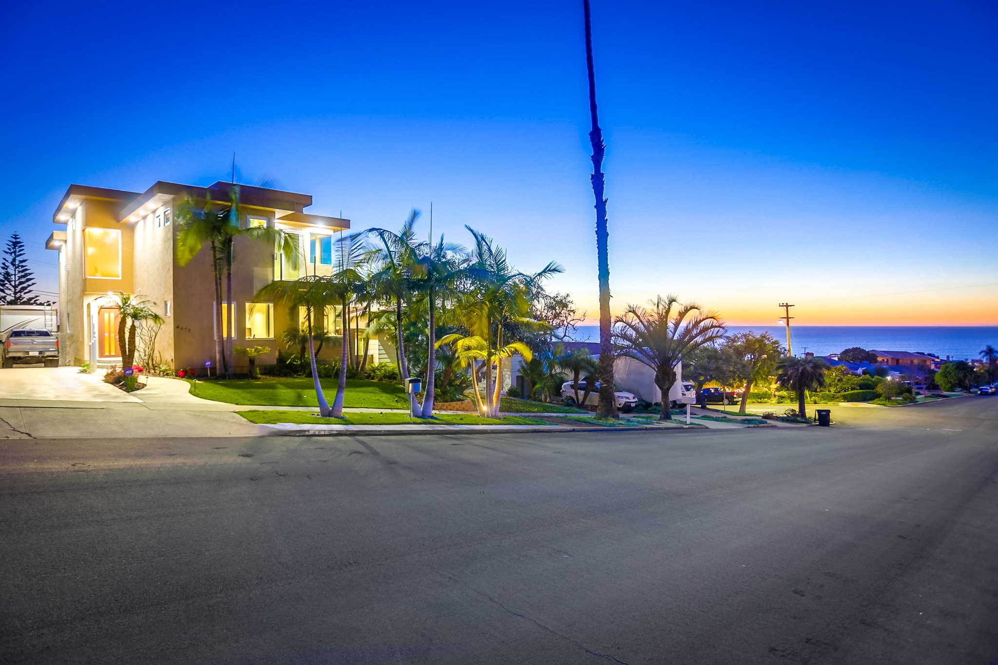 "Amazing panoramic white water ocean views from Sunset Cliffs to La Jolla enhance this one-of-a-kind luxury home. Sweeping ocean views from main living areas, including the 2 upper master bedrooms. This modern masterpiece was taken down to the studs in 2006 & rebuilt with high-end, gorgeous materials. Entertain in the stunning ocean view living room w/full bar & floor to ceiling wall of opening blue glass. Parking for 5 cars & a 40-foot motorhome. Come experience this rare, ocean view opportunity!Marvel in nature's stunning sunsets, from your perch at one of the best view locations on the Peninsula. Extras include: * Steel beam 2006 modern construction * Blue glass and rain glass windows throughout * Vantage ""smart home"" technology * Professionally interior designed treatments * Push button water feature at entry * Bi-directional blue glass sliders in dining room. * Motion sensor lighting in all baths * Programable bath fans * Both MBR's upstairs with outstanding views, luxurious baths & walk-in closets * 3 bedrooms and 2 baths downstairs * 10', 14' and 24' ceilings * 2 washer/dryer hook-ups in laundry room * Laundry chute in master closet * Enclosed rain glass steam shower and luxurious spa tub * TV in master bath mirror * Views of Sunset Cliffs from master bath * 5 sets of mitered corner windows to the views * 2 heaters, 2 air conditioners, 2 tankless water heaters * 2 sinks with garbage disposals in the kitchen * Oversized Sub-Zero stainless steel refrigerator * Programable home lighting & art lights * Interior and exterior cameras * Full bar with best views to La Jolla: Refrigerator, wine refrigerator, ice maker, wet bar sink and lighted bar back. * Retractable blue-glass sliding wall with amazing views * Stair lighting in media room * Finished garage with drywall, cabinets, workbench and epoxy floor * Room for 2 cars in the garage, a 40' motorhome, truck, trailer and still park another car in the driveway! A total of 7 cars could be parked on the lot. * Alarm system * Whole house music wiring * Both kitchen sinks w/reverse osmosis drinking H2O w/holding tank-never run out! * Ultimate master closet with ""Reed Glass"" closet system * Lower deck off kitchen/dining room is plumbed for gas BBQ * From your couch you can check the surf, watch pelicans, sailboats, whales, Navy ships, cruise ships, helicopters, planes pulling beach banners, sailing schools, parrots, doves, humming birds, storm clouds, and the sunsets into the water all year! * This bargain in Point Loma is centrally located, usually going against San Diego county traffic. Downtown is a ten minute drive along the bay and Sunset Cliffs is a nature preserve for hiking, biking, running, water sports & beach gazing. * It's a pristine neighborhood with parents pushing strollers and daily dog walks with ocean views and breezes. * Shelter Island and the yacht clubs are 3 minutes away. * Live in San Diego half the year & vacation rental the rest for cash flow * Come experience nature at the ocean all day long!"