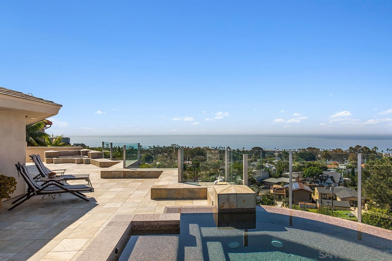Unobstructed, panoramic ocean views from nearly every room in this beautiful single-story turnkey contemporary. Set on a quiet La Jolla cul-de-sac, the 3BD/2.5BA home offers much privacy and a respite from the everyday. Skylights throughout offer additional natural light and ambiance while the lush landscaping and manicured lawn set the stage for awesome views. Unwind in the stunning 10-person vanishing-edge spa or by the outdoor fire pit on the expansive stone view deck. You won't want to leave!