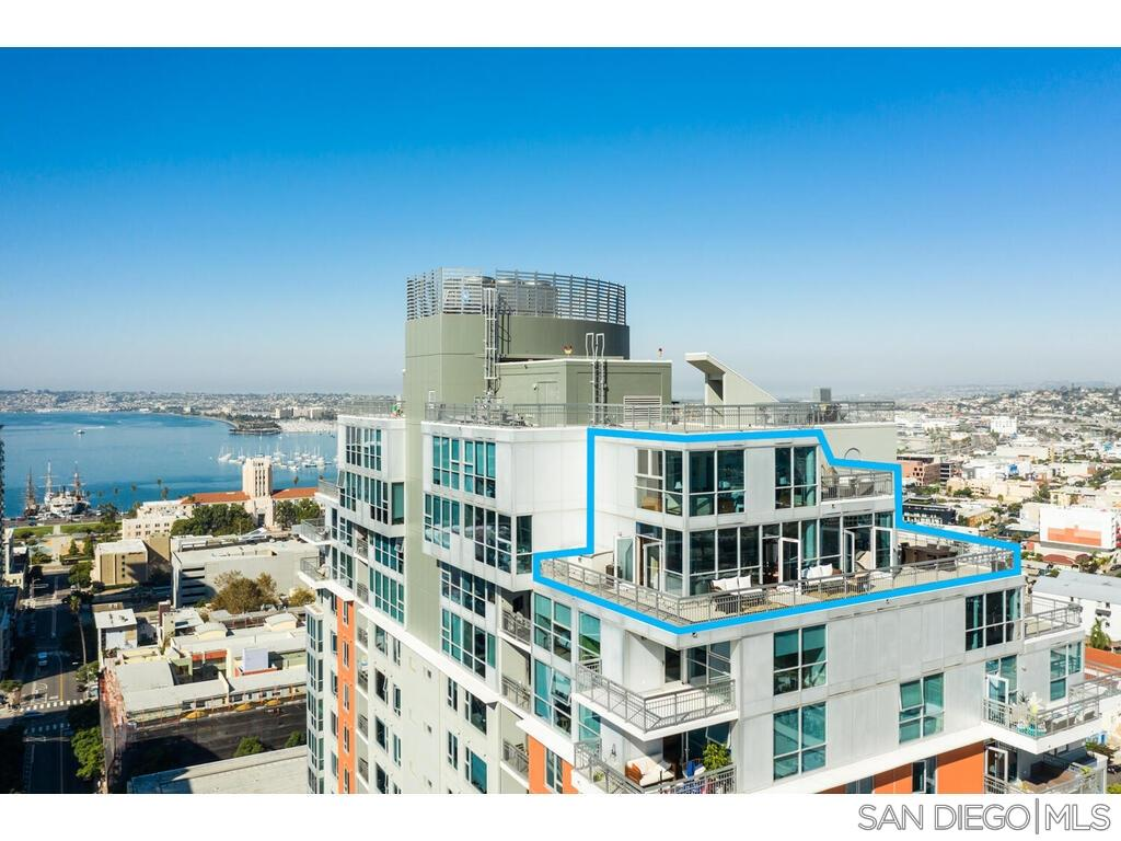 """Stunning """"Top Shelf"""" 23rd floor Penthouse in the sky with over 1000 SQ FT of private patios and nobody living above! Highly desirable La Vita building. Located in the heart of Little Italy this property provides Stunning ocean, bay, and city views. Capture these picturesque scenes through floor-to-ceiling windows in every room. Originally purchased from builder this plan has never been back to market! Hard surface flooring, custom built,  LOW HOA's, best side by side parking spaces. Entertainers dream!Enjoy all of the fabulous amenities! Pool, exercise room, Billiards Room/Library and beautiful enclosed courtyard with BBQ's, tables, and lush green grass. 24-hour security, onsite management, gated underground garage, community bicycle storage. This beautiful condo is close to everything! Numerous fine restaurants, shopping, entertainment, Waterfront Park, transportation (Santa Fe Depot), and Lindbergh field."""