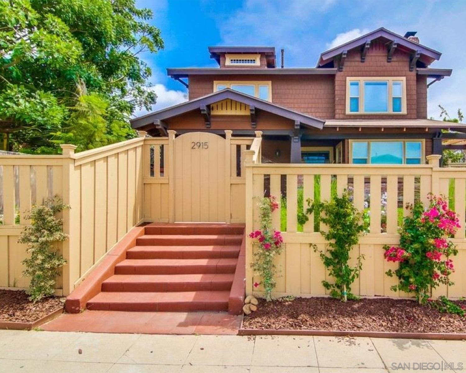 This is a fully restored 100 plus year old Craftsman with all of it's original charm.  The upstairs master bedroom is huge with multiple closet options.  A separate outside stairway offers a buyer an option to rent out upstairs and live downstairs. There is also a guest unit attached to the residence, also with it's separate entrance. Perfect for Airbnb or business owner office user  Included are upgraded kitchen, grand front porch and two new furnaces. Parking for 7 vehicles.Besides Little Italy, the next two fastest growing and most popular neighborhoods in San Diego are North Park and South Park. This property in right on the borderline of both. Giving you an amazing location for you and your family to live. McKinley Elementary, a highly rated school, is within walking distance. This property has alley access with three parking spaces and two car charging options. Owner is currently in the process of getting the home Mills Acted which will reduce property taxes substantially. Owner has created three separate living units, if desired. Perfect for an Airbnb operator. This is a fully restored 100 plus year old Craftsman with all of it's original charm. Includes an original craftsman built in hutch in the dining room. The upstairs master bedroom is huge with many closet options.  A separate outside stairway offers a buyer an option to rent out upstairs and live downstairs. There is also a guest unit attached to the residence, also with it's separate entrance.  Included are upgraded kitchen, grand front porch, new roof and two new furnaces.