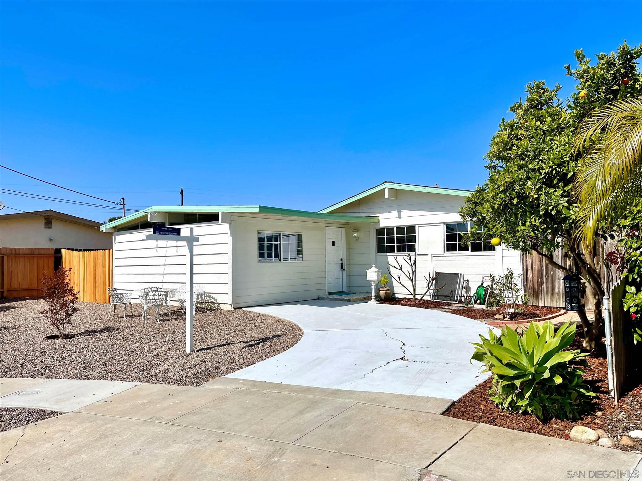 Desirable Clairemont Mesa West! Clairemont is conveniently located near all San Diego's main attractions. This spacious home is one of the largest and most private lots located in a double cul-de-sac street.  Mt. Armour turnkey home features a spacious floor plan with 5 bedrooms, 2 bath, newer roof, new flooring & paint and many detailed updates throughout.  Outdoor landscape includes many mature trees including fruit baring pomegranate, avocado, lemon, orange and much more.  The lot has great space and room to build or just enjoy in your own peaceful tranquil retreat.  Bonus/front room may be converted back to a garage/workspace.  The front lot appears to have room to build a garage if desired.  The side yard and back yard have room to add your own storage sheds. This home has been updated and staged and ready to call HOME for you and your FAMILY!Desirable Clairemont Mesa West! Clairemont is conveniently located near all San Diego's main attractions. This spacious home is one of the largest and most private lots located in a double cul-de-sac street.  Mt. Armour turnkey home features a spacious floor plan with 5 bedrooms, 2 bath, newer roof, new flooring & paint and many detailed updates throughout.  Outdoor landscape includes many mature trees including fruit baring pomegranate, avocado, lemon, orange and much more.  The lot has great space and room to build or just enjoy in your own peaceful tranquil retreat.  Bonus/front room may be converted back to a garage/workspace.  The front lot appears to have room to build a garage if desired.  The side yard and back yard have room to add your own storage sheds. This home has been updated and staged and ready to call HOME for you and your FAMILY!  No showings till home is staged and photographed.  We are aiming for May 10th.