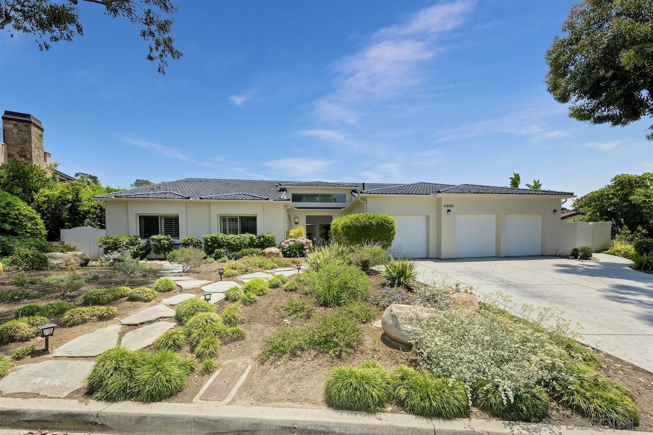 This sophisticated, single-level, light and bright beauty was completely renovated with attention to detail and thoughtfully maintained. This desirable neighborhood is walking distance to schools & a 5 minute drive to the beach. 4 bdrms, 3 baths, a den and 3279 sq. ft. of a spacious living. A dramatic foyer leads into a gallery-like interior boasting an entertainer's living room and dining room with w/vaulted & a coffered ceiling, high-design recessed lighting throughout, skylights & expansive windows that view open space, natural canyon and a green hillside. A sleek and well-planned, eat-in chef's kitchen w/high-end appliances, walk-in pantry and leads out to the sparkling, solar-heated pool & easy outdoor living. This home has a wonderful floor plan and perfect for family life in this superb, easy-access location. The primary suite has a large walk-in closet, slate shower with river rock detail and European finishes. This elegant home will please even the most discerning taste. A must-see in the coveted Muirlands West! A separate laundry room, a 3 car attached garage and solar.