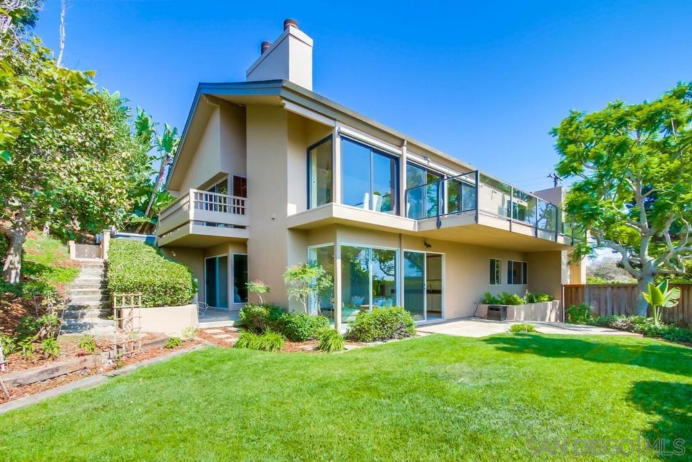 Listed in a range of: $2,995,000 - 3,245,000. Relish in an abundance of privacy in this beautifully remodeled Bird Rock home. Fully gated and located at the end of a cul-de-sac, this warm and gracious residence offers ocean views, a fantastic location close to all Bird Rock has to offer yet is strikingly juxtaposed with an exceptional feeling of seclusion.  Thoughtfully designed and masterfully updated, the residence features vaulted ceilings throughout the living spaces, gorgeous kitchen and master suite, hardwood floors, floor-to-ceiling windows/doors which capture ocean views & immense natural light, brand new roof, dual zone HVAC, sizeable gym, three car garage and a myriad of outdoor entertaining areas plus a substantial yard.